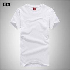 纯棉男圆领T恤广告衫定制 定做企业活动文化衫班服促销印刷logo 白色 M