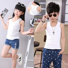 Children`s vest boys and girls in the spring and summer in the big children cotton sling children`s  H white 90 cm
