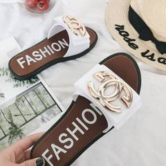 Wechat business hot style little fragrant female slippers fashion summer Korean version flat flat wo white 36