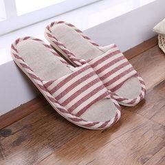 厂家条纹情侣家居室内防滑拖鞋夏季男女亚麻拖鞋居家凉拖鞋批发 红色 36-37