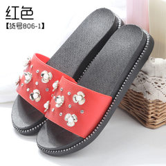 Wholesale a substitute hair women`s slippers summer 2018 new pearl water-drill cool slippers women`s [806-1] red 36