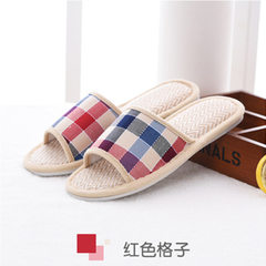 New checked style spring and autumn anti-skid linen slippers for men and women indoor cool slippers  red 37/38