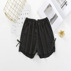 2018 summer lace shorts female imitation silk mulberry silk safety pants anti-light loose three-poin -01 (black) All code
