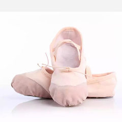 Boys and girls pink ballet shoes leather head soft canvas training shoes body cat claw shoes manufac pink 36