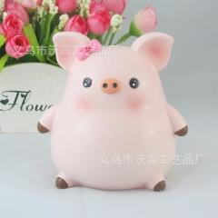 Hot recommended cute piggy money can lovers holiday gifts resin crafts home furnishing supplies 10 * 9 * 11 cm