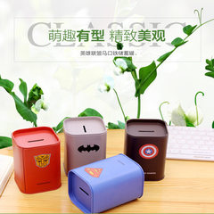Creative metal arts and crafts hero alliance, tin-square piggy bank creative pen container wholesale Army beard series random hair