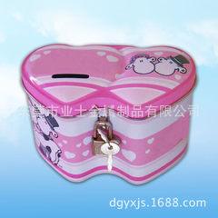 东莞生产工厂直供马口铁双心形存钱罐 带锁儿童存钱罐 142x85x95mm