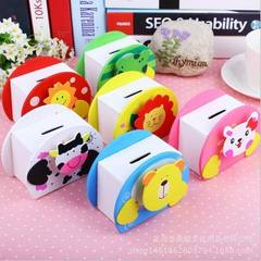 Cartoon animal piggy bank lovely student day gift child piggy bank kindergarten gift printing logo q Mixed hair in six colors 10.3 x8.0 x5.7 cm