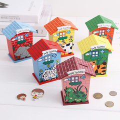 Wooden painted small house money can cartoon animal money can children gift lovely table set Mixed hair 120 * 95 * 60 mm