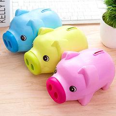 1068卡通储蓄罐小猪存钱罐塑料储钱罐纸硬币创意可爱儿童情侣礼物 蓝色