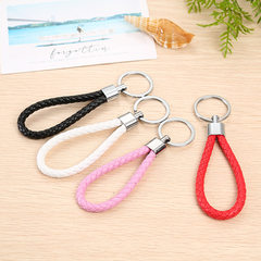 Hand-woven leather rope key chain ring on the waist to hang key rings creative gifts for men and wom red