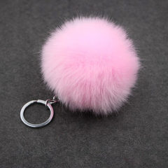 Manufacturer`s price simulation wool ball key ring 8cm imitation rabbit hair bag key ring pendant la pink 8cm imitation wool + single ring button