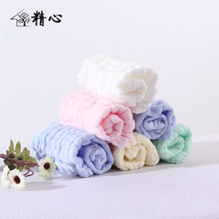 Production of six layers of pure cotton gauze kerchief baby saliva towel soft pleated kerchief witho white