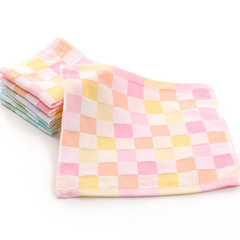 Pure cotton double gauze baby square towel full cotton lattice baby towel kindergarten saliva towel  Powder, 25 * 25