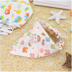 Factory knitting cotton baby triangle towel baby cartoon animal bib suction saliva towel belt buckle Colors mixed hair