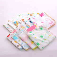 Cotton towel gauze square towel baby print saliva towel double layer gauze thin type small handkerch A random pattern 25 * 25