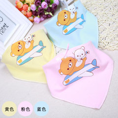 Cuddly baby triangle towel double cotton cartoon print anti-saliva children button triangle saliva t The baby boy`s pattern is random