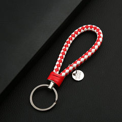 PU pure manual knitting men and women leather rope key ring lovers key ring car key chain small gift White and red Leather rope key ring
