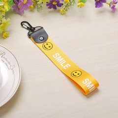 Letter ribbon mobile phone hanging rope neck DIY mobile phone shell accessories hand-rope dacron wri yellow Smiling face ribbon