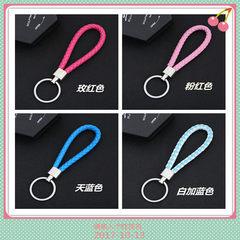 金属钥匙圈编织皮绳钥匙扣情侣钥匙圈男女汽车钥匙链小礼品批发 黑色
