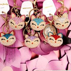 Set diamond fox head rabbit hair ball alloy key ring fashion bag hanging decoration wholesale car ac Lake blue style