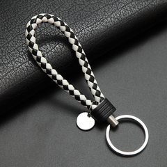 Leather rope key chain knitting rope key ring metal couple key ring leather car key chain men and wo Black + white A - 044 leather cord