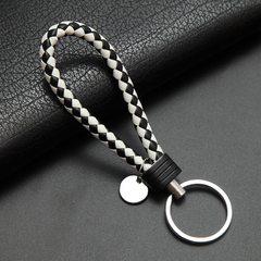 皮绳钥匙扣编织绳钥匙圈金属情侣钥匙圈真皮汽车钥匙链男女小礼品 黑+白 A-044皮绳