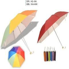 厂家定制 创意广告三折伞 8骨礼品折叠伞 纯色碰击布雨伞 可定制