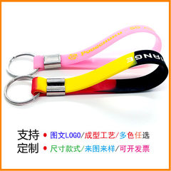 New products recommended luminous silicone key ring printing rubber hand ring key ring fluorescent s Each pantone color code 210/202 * 12 mm