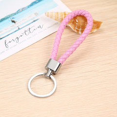 Wholesale custom hand-woven pu creative leather rope lovers key chain car pendant small gift activit black