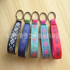 Manufacturer custom-made wrist diving material SBR key ring, color printing pattern key belt color 12.5 * 2.6 CM