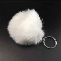 24 color 8cm imitation rabbit wool ball key ring plush pendant fake wool bag car key ring pendant wh white 8cm imitation rabbit hair + single ring buckle