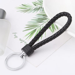Leather rope key ring creative car key ring men and women hanging key chain accessories female bag p black 1