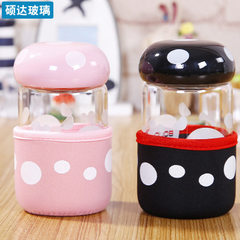 Direct selling mushroom cup student gifts with flower tea glass cartoon lovers water cup advertising white 300 ml