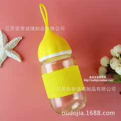 Creative cute glass small ai cup onion head student water cup penguin cup portable rope gift cup cus yellow 301-400 ml