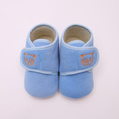 Autumn and winter style baby 0 1 year old soft bottom does not drop off the baby shoes for toddlers  Light blue 12 yards (inside length 11.5)