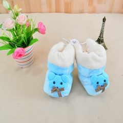 Baby cotton shoes 0-6 months baby shoes cartoon autumn and winter thickening warm newborn anti-skid  Color with super soft bear applique anti-skid bottom Neonatal 0-12 months