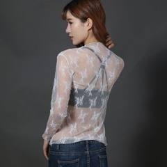 2018新款上衣长袖百搭内搭蕾丝衫 女超仙气质网纱打底衫 白色 均码