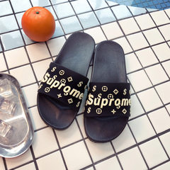Cool slippers women in summer indoor and outdoor bathing slippers men lovely lovers stalls running r Black English 24 for 35 and 36