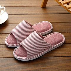 Spring and summer Japanese linen slippers household men and women lovers indoor wooden floor soft bo Ladies - wine red Women 35 and 36