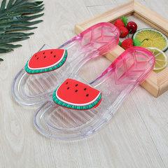 Hawaii wind trend crystal word drag fruit slippers female summer - Korean version of outdoor ladies  watermelon 36
