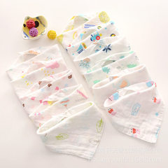 Manufacturer direct selling baby triangle towel 4 layers gauze washing saliva towel wholesale baby b Little monkey