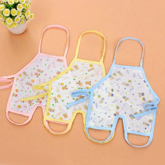 Neonatal summer cotton gauze belly pocket four-layer print leg tie rope can adjust the baby belly bu yellow