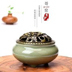 Jiayao pan incense furnace new copper cover alloy incense tower incense burner incense burner incens Kao - sky blue