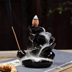 Back-flow incense burner tray incense burner incense burner tower incense cone incense burner Buddha Heave black