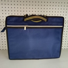 厂家直销菱形革纯色立体双层拉链商务办公手提袋、办公包批发 蓝色