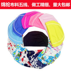 Swimming cap men`s and women`s cloth swimming cap factory direct wholesale polyamide five line indep black