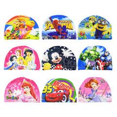 厂家直销 卡通儿童泳帽男童女童不勒头舒适护耳可爱游泳帽宝宝布 花色卡通
