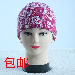 厂家直销男女通用锦纶游泳帽.五线缝制花色布泳帽 橘色