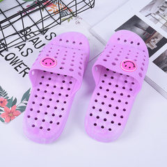 New style simple household bathroom slippers hollow-out anti-skid house slippers creative PVC cool s purple 36